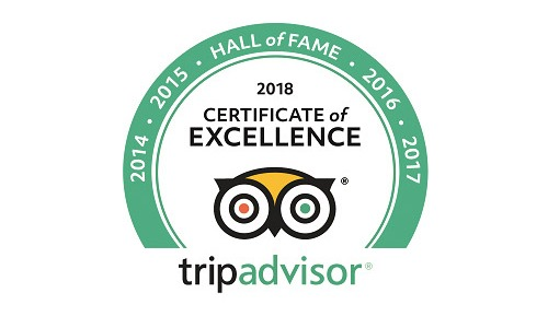 TripAdvisor Certificate of Excellence & Hall of Fame