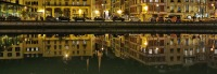 View of Bayonne reflected in the River Nive